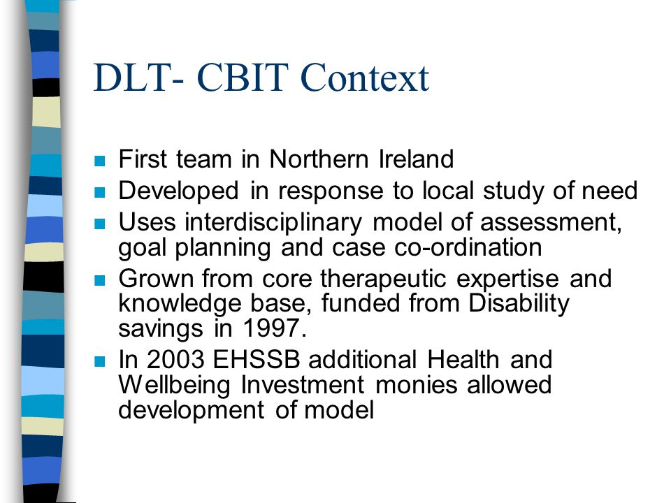 CBIT – Results /Outcomes Focus n Key Results: Rehabilitation Goals set with individual persons served and % attained over rehabilitation period.