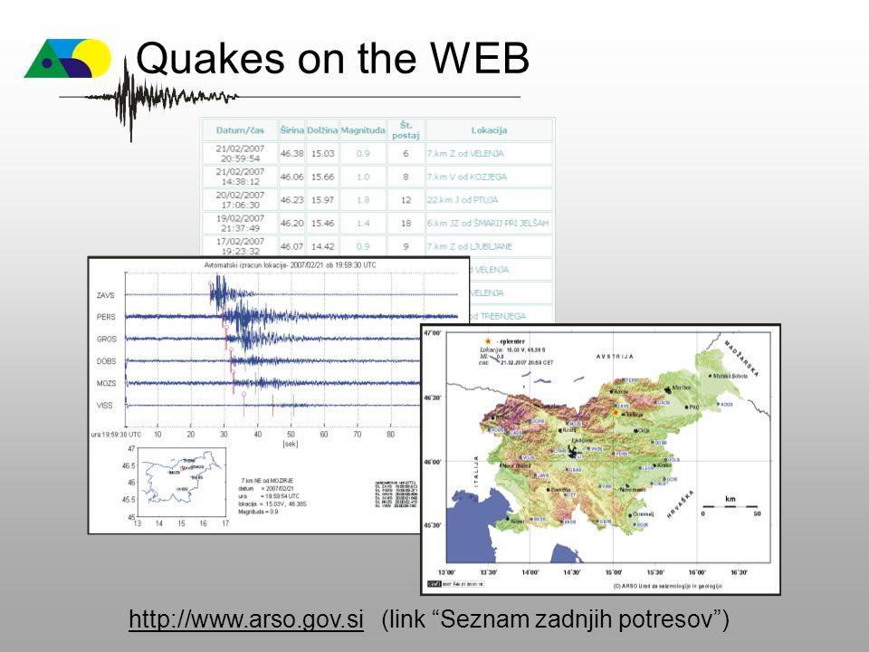 """http://www.arso.gov.sihttp://www.arso.gov.si (link """"Seznam zadnjih potresov"""") Quakes on the WEB"""
