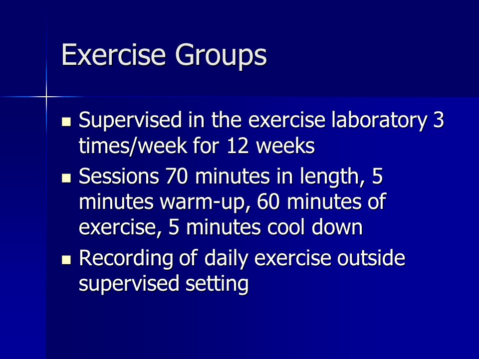 Exercise Groups Supervised in the exercise laboratory 3 times/week for 12 weeks Supervised in the exercise laboratory 3 times/week for 12 weeks Sessions 70 minutes in length, 5 minutes warm-up, 60 minutes of exercise, 5 minutes cool down Sessions 70 minutes in length, 5 minutes warm-up, 60 minutes of exercise, 5 minutes cool down Recording of daily exercise outside supervised setting Recording of daily exercise outside supervised setting