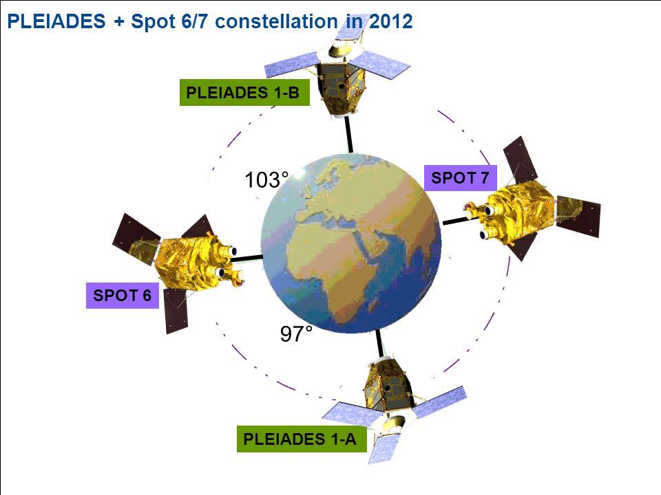 © Spot Image 2006 21 PLEIADES 1-A SPOT 6 PLEIADES 1-B 97° 103° SPOT 7 PLEIADES + Spot 6/7 constellation in 2012