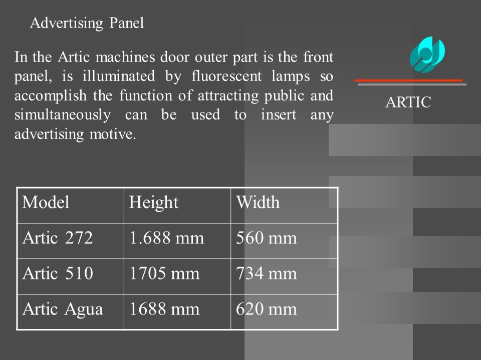 Advertising Panel In the Artic machines door outer part is the front panel, is illuminated by fluorescent lamps so accomplish the function of attracti