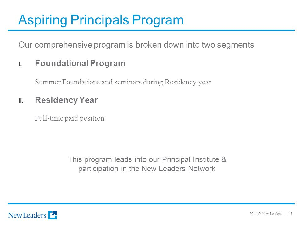 2011 © New Leaders | 15 Aspiring Principals Program Our comprehensive program is broken down into two segments I.