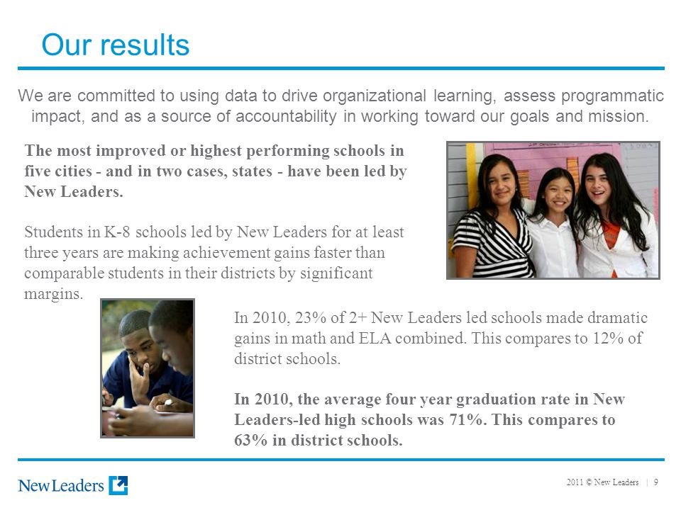 2011 © New Leaders | 9 Our results We are committed to using data to drive organizational learning, assess programmatic impact, and as a source of accountability in working toward our goals and mission.