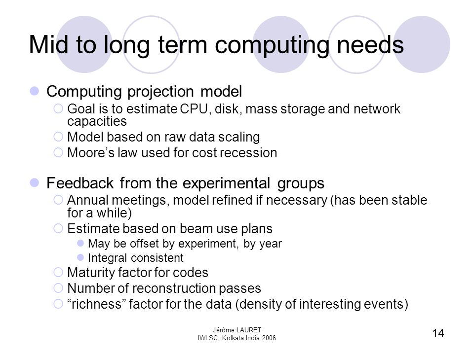14 Jérôme LAURET IWLSC, Kolkata India 2006 Mid to long term computing needs Computing projection model  Goal is to estimate CPU, disk, mass storage and network capacities  Model based on raw data scaling  Moore's law used for cost recession Feedback from the experimental groups  Annual meetings, model refined if necessary (has been stable for a while)  Estimate based on beam use plans May be offset by experiment, by year Integral consistent  Maturity factor for codes  Number of reconstruction passes  richness factor for the data (density of interesting events)