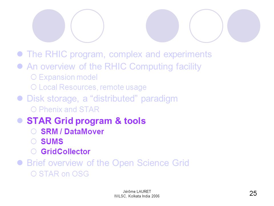 25 Jérôme LAURET IWLSC, Kolkata India 2006 The RHIC program, complex and experiments An overview of the RHIC Computing facility  Expansion model  Local Resources, remote usage Disk storage, a distributed paradigm  Phenix and STAR STAR Grid program & tools  SRM / DataMover  SUMS  GridCollector Brief overview of the Open Science Grid  STAR on OSG