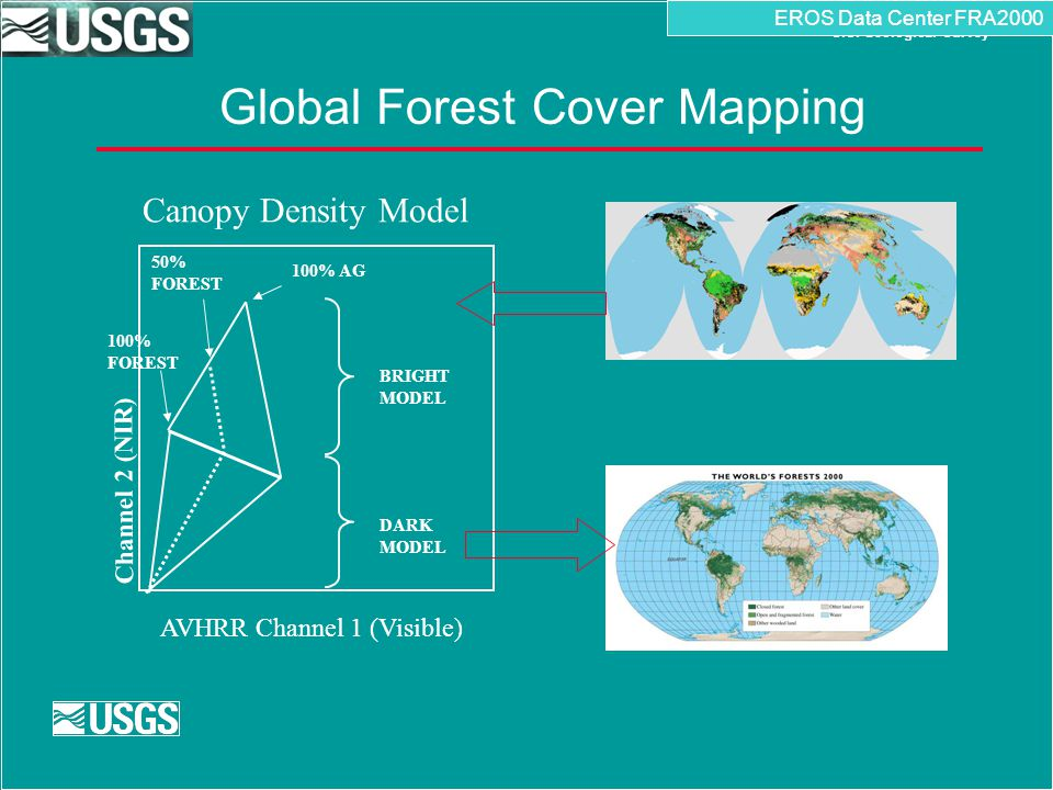 U.S. Department of the Interior U.S. Geological Survey Global Forest Cover Mapping EROS Data Center FRA2000 50% FOREST 100% AG DARK MODEL BRIGHT MODEL