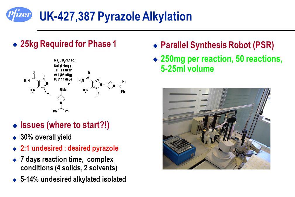 UK-427,387 Pyrazole Alkylation u 25kg Required for Phase 1 u Issues (where to start?!) u 30% overall yield u 2:1 undesired : desired pyrazole u 7 days