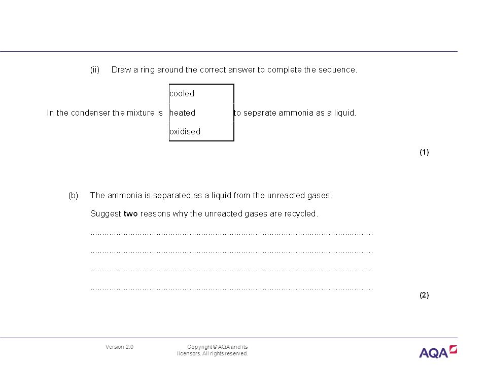 Version 2.0 Copyright © AQA and its licensors. All rights reserved. C3 3.5