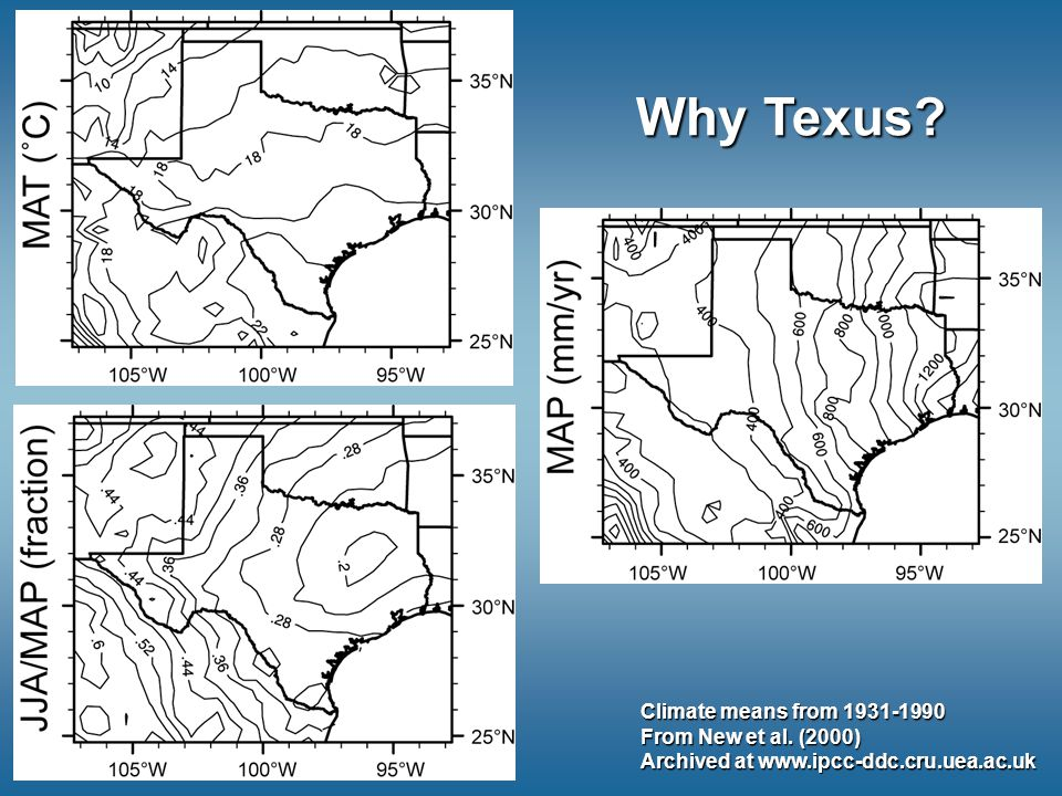 Why Texus. Climate means from 1931-1990 From New et al.