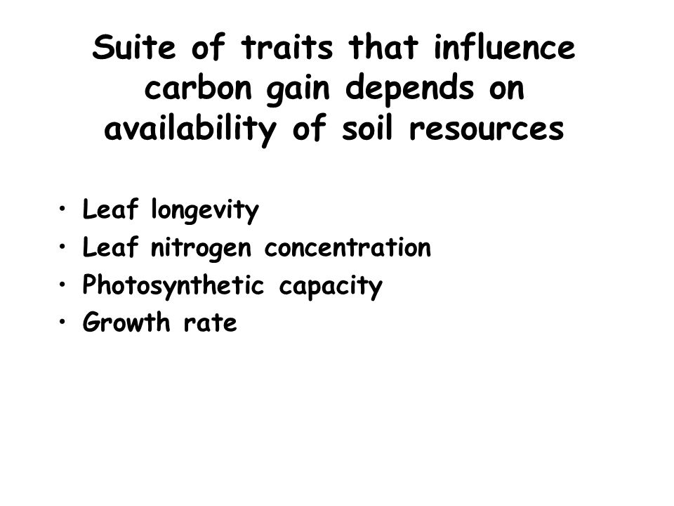 Suite of traits that influence carbon gain depends on availability of soil resources Leaf longevity Leaf nitrogen concentration Photosynthetic capacity Growth rate