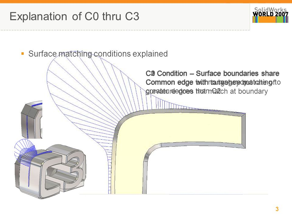 4 Advanced Modeling 101  Importance of visible connection No Radii used; all C2 connection of surfaces C0 CONDITION (Contact) C1 CONDITION (Tangency) C2 CONDITION (Continuity)