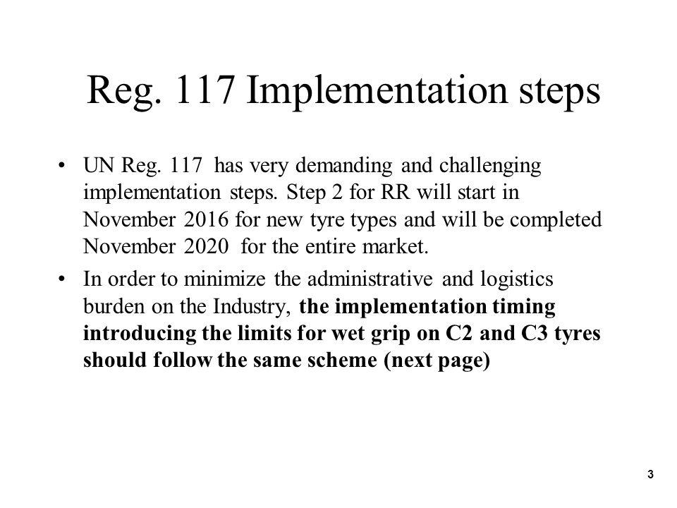 Reg. 117 Implementation steps UN Reg. 117 has very demanding and challenging implementation steps. Step 2 for RR will start in November 2016 for new t