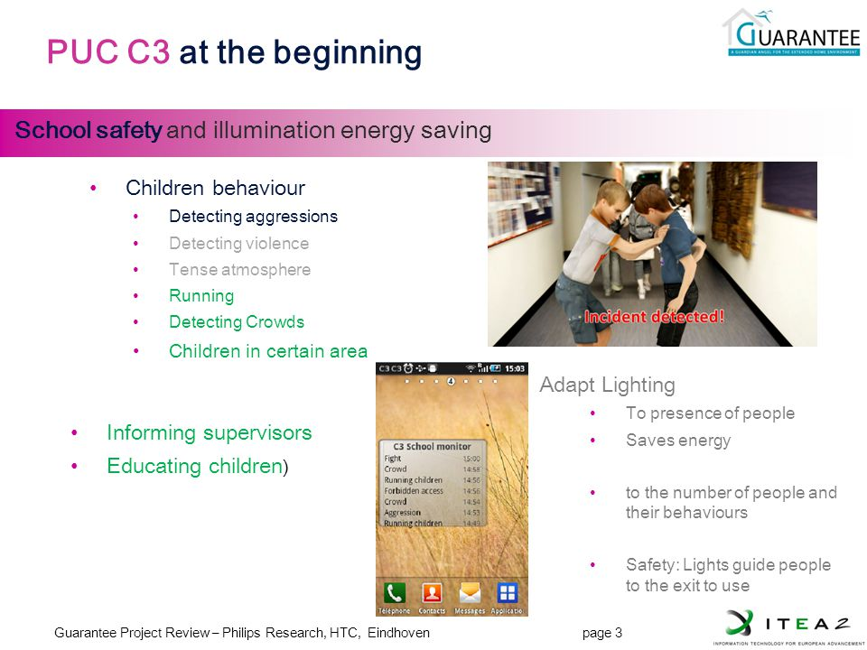 Guarantee Project Review – Philips Research, HTC, Eindhoven page 3 JL-3 PUC C3 at the beginning School safety and illumination energy saving Adapt Lig