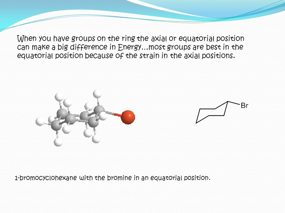 1-bromocyclohexane with the bromine in an equatorial position. When you have groups on the ring the axial or equatorial position can make a big differ