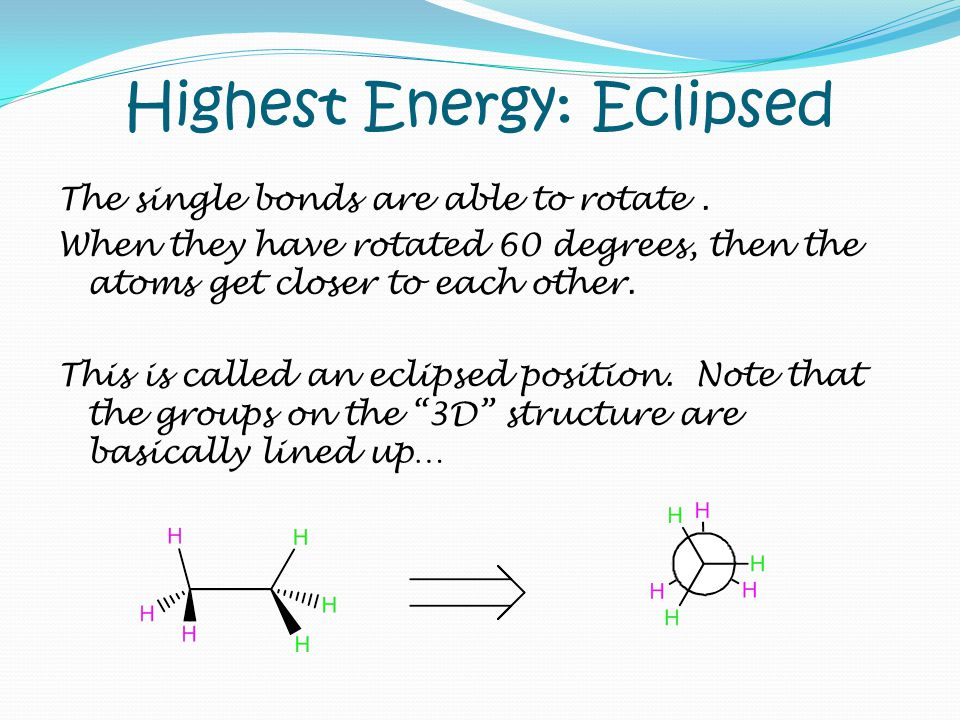 Highest Energy: Eclipsed The single bonds are able to rotate. When they have rotated 60 degrees, then the atoms get closer to each other. This is call