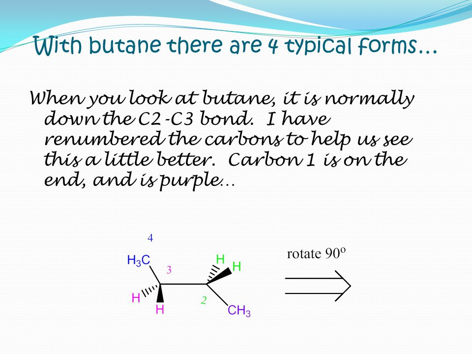 With butane there are 4 typical forms… When you look at butane, it is normally down the C2-C3 bond. I have renumbered the carbons to help us see this
