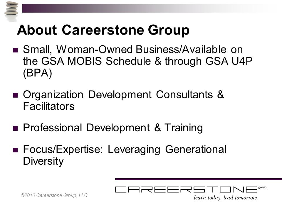 ©2010 Careerstone Group, LLC About Careerstone Group Small, Woman-Owned Business/Available on the GSA MOBIS Schedule & through GSA U4P (BPA) Organizat
