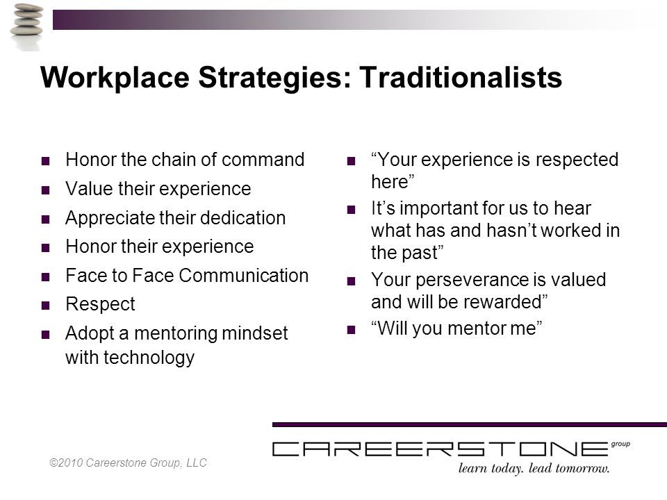 Workplace Strategies: Traditionalists Honor the chain of command Value their experience Appreciate their dedication Honor their experience Face to Face Communication Respect Adopt a mentoring mindset with technology Your experience is respected here It's important for us to hear what has and hasn't worked in the past Your perseverance is valued and will be rewarded Will you mentor me ©2010 Careerstone Group, LLC