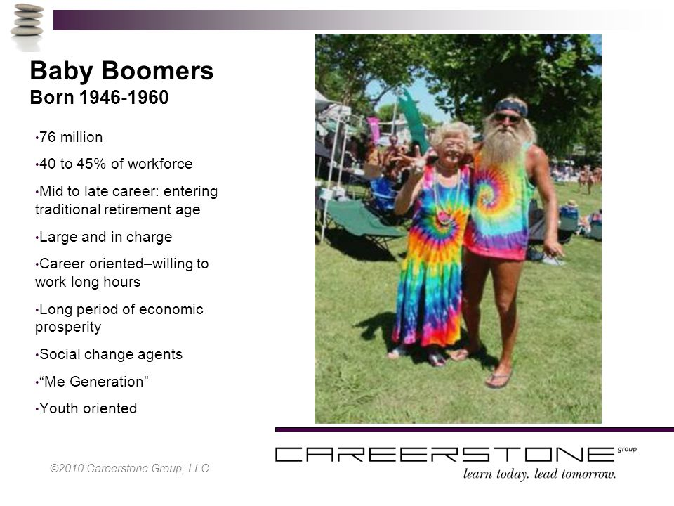 Baby Boomers Born 1946-1960 76 million 40 to 45% of workforce Mid to late career: entering traditional retirement age Large and in charge Career oriented–willing to work long hours Long period of economic prosperity Social change agents Me Generation Youth oriented ©2010 Careerstone Group, LLC
