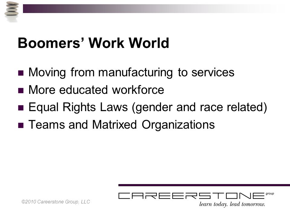 ©2010 Careerstone Group, LLC Boomers' Work World Moving from manufacturing to services More educated workforce Equal Rights Laws (gender and race related) Teams and Matrixed Organizations