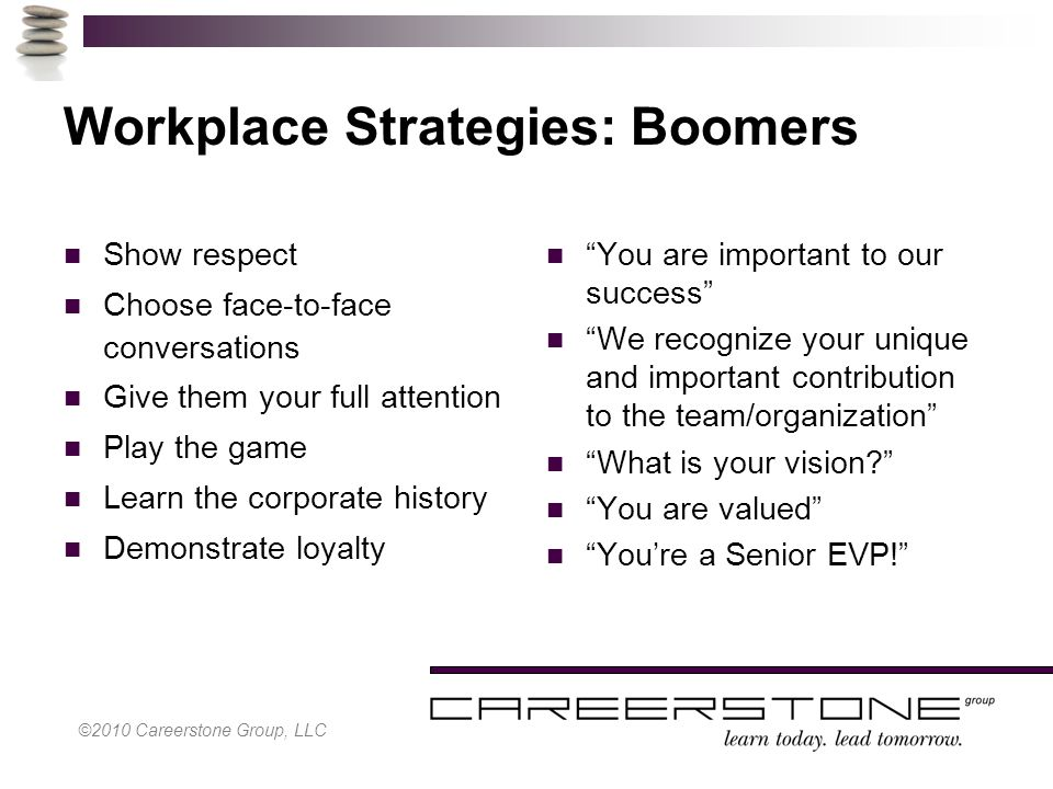 ©2010 Careerstone Group, LLC Workplace Strategies: Boomers Show respect Choose face-to-face conversations Give them your full attention Play the game Learn the corporate history Demonstrate loyalty You are important to our success We recognize your unique and important contribution to the team/organization What is your vision? You are valued You're a Senior EVP!