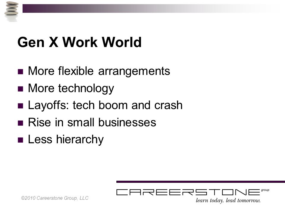 ©2010 Careerstone Group, LLC Gen X Work World More flexible arrangements More technology Layoffs: tech boom and crash Rise in small businesses Less hierarchy