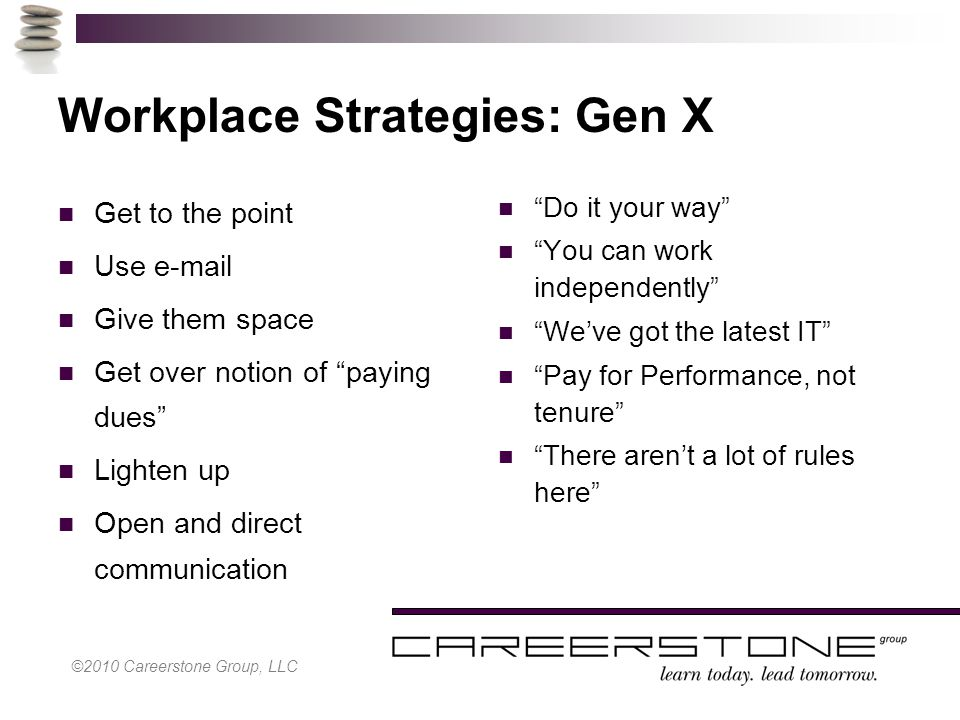©2010 Careerstone Group, LLC Workplace Strategies: Gen X Get to the point Use e-mail Give them space Get over notion of paying dues Lighten up Open and direct communication Do it your way You can work independently We've got the latest IT Pay for Performance, not tenure There aren't a lot of rules here