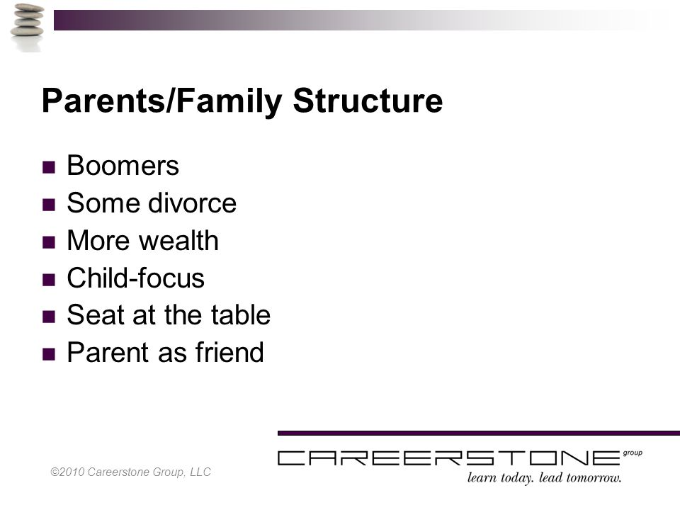 Parents/Family Structure Boomers Some divorce More wealth Child-focus Seat at the table Parent as friend