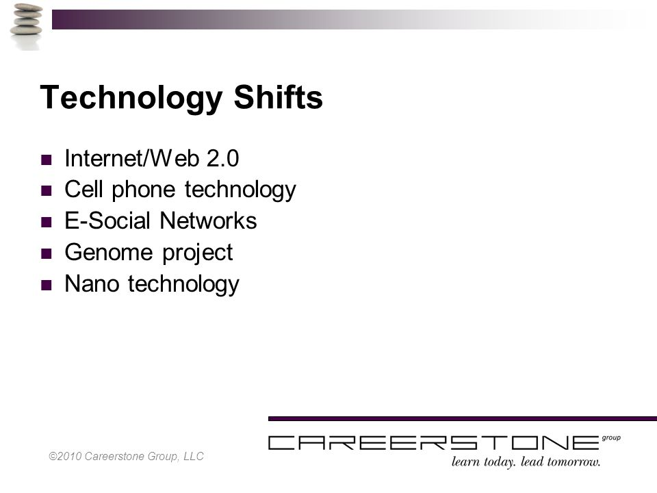 ©2010 Careerstone Group, LLC Technology Shifts Internet/Web 2.0 Cell phone technology E-Social Networks Genome project Nano technology