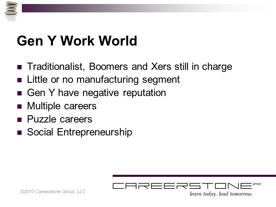 ©2010 Careerstone Group, LLC Gen Y Work World Traditionalist, Boomers and Xers still in charge Little or no manufacturing segment Gen Y have negative