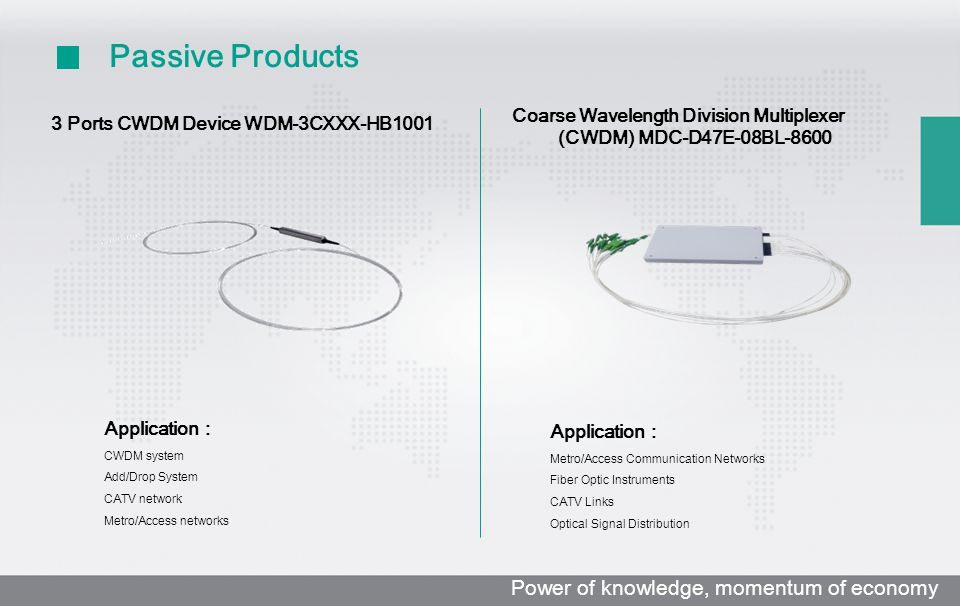 3 Ports CWDM Device WDM-3CXXX-HB1001 Application : CWDM system Add/Drop System CATV network Metro/Access networks Coarse Wavelength Division Multiplexer (CWDM) MDC-D47E-08BL-8600 Application : Metro/Access Communication Networks Fiber Optic Instruments CATV Links Optical Signal Distribution Passive Products Power of knowledge, momentum of economy