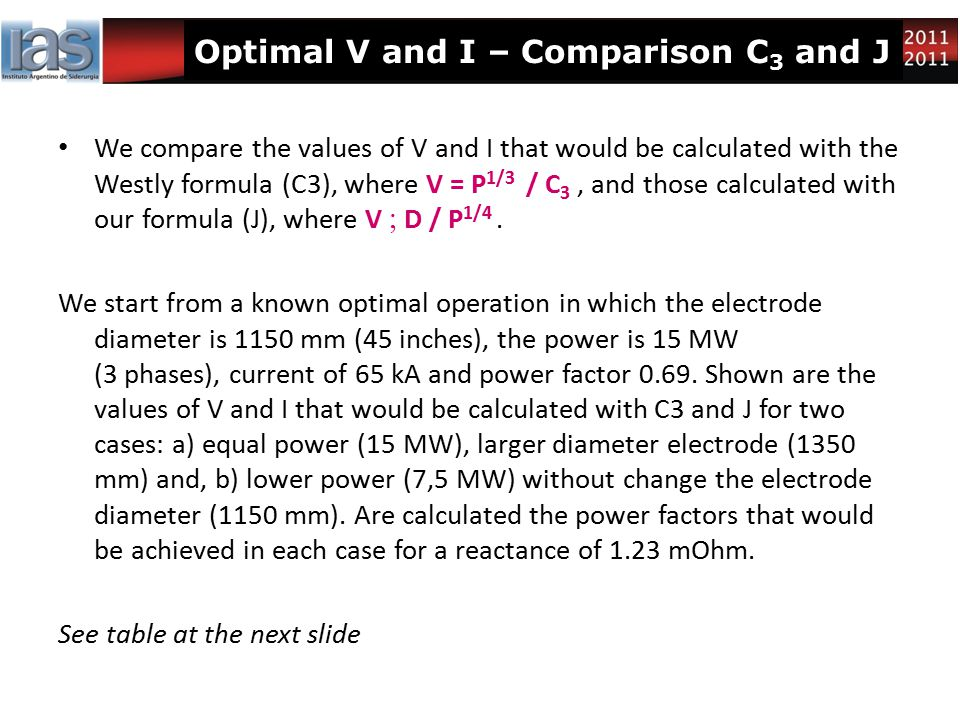 Optimal V and I – Comparison C 3 and J We compare the values of V and I that would be calculated with the Westly formula (C3), where V = P 1/3 / C 3,