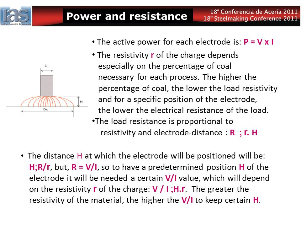 Power and resistance The distance H at which the electrode will be positioned will be: H  R/ r, but, R = V/I, so to have a predetermined position H o