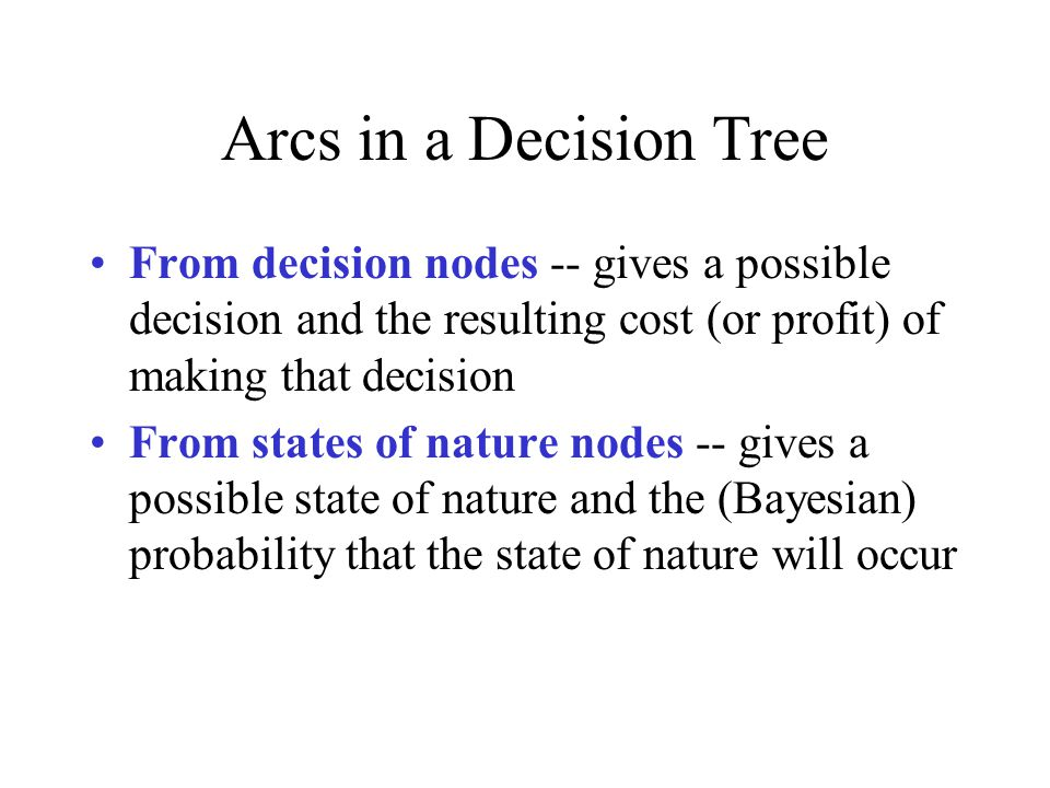 Arcs in a Decision Tree From decision nodes -- gives a possible decision and the resulting cost (or profit) of making that decision From states of nature nodes -- gives a possible state of nature and the (Bayesian) probability that the state of nature will occur