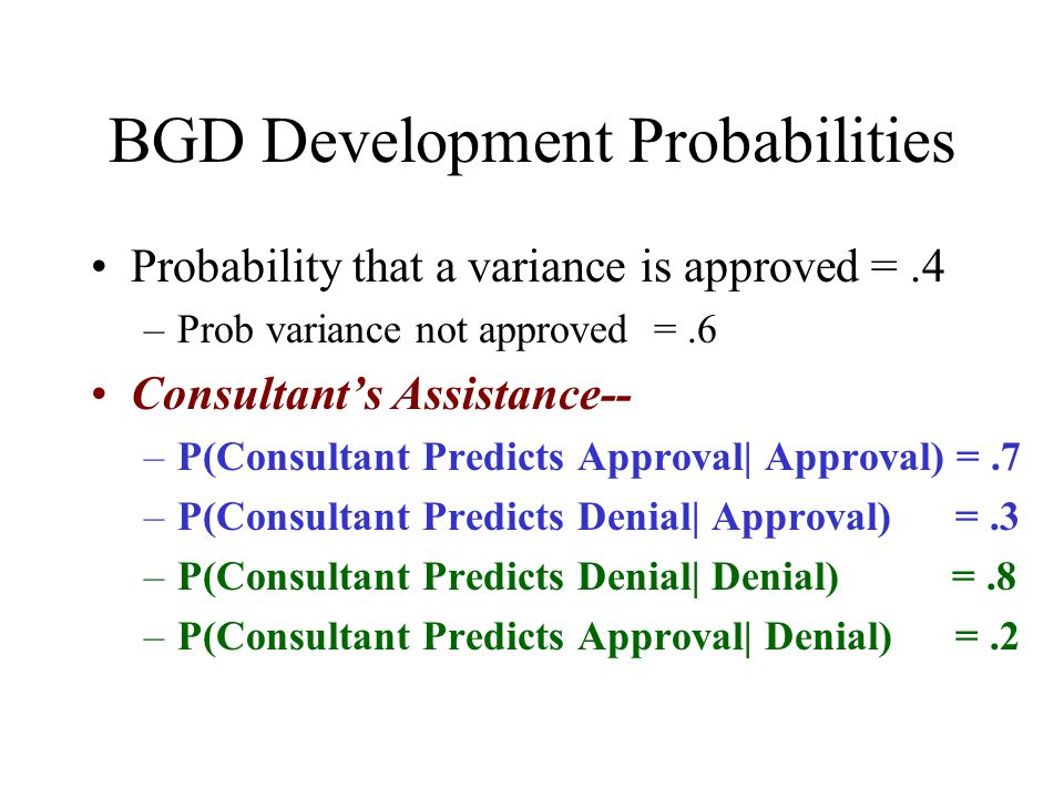 BGD Development Probabilities Probability that a variance is approved =.4 –Prob variance not approved =.6 Consultant's Assistance-- –P(Consultant Pred
