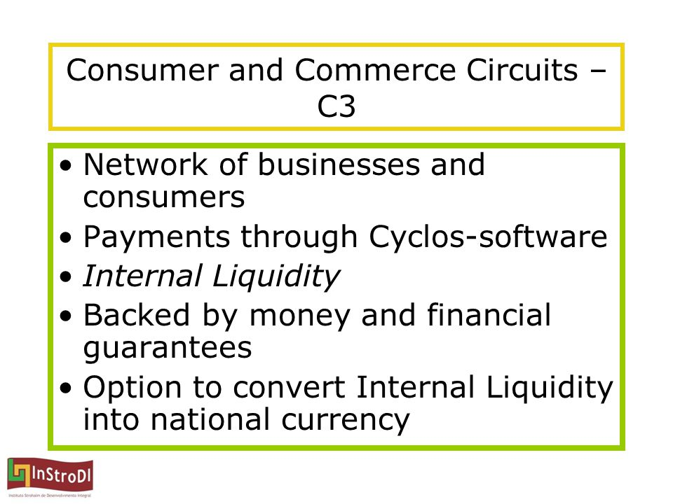 Consumer and Commerce Circuits – C3 Network of businesses and consumers Payments through Cyclos-software Internal Liquidity Backed by money and financ