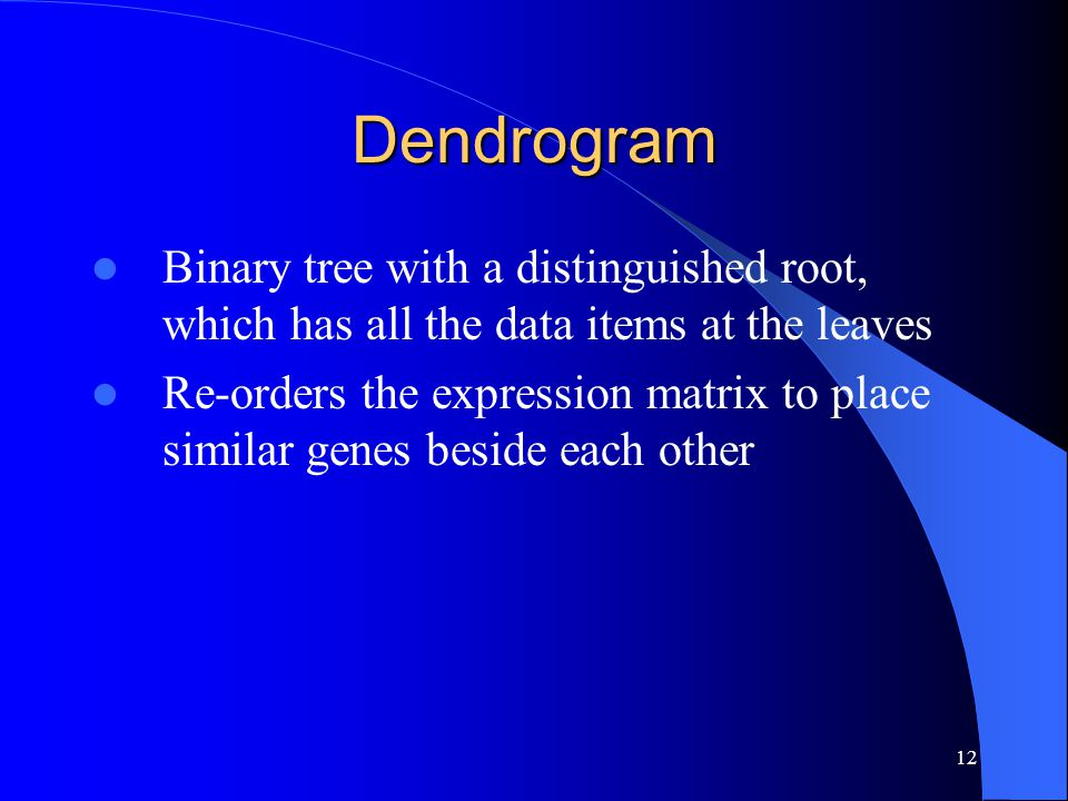 12 Dendrogram Binary tree with a distinguished root, which has all the data items at the leaves Re-orders the expression matrix to place similar genes beside each other
