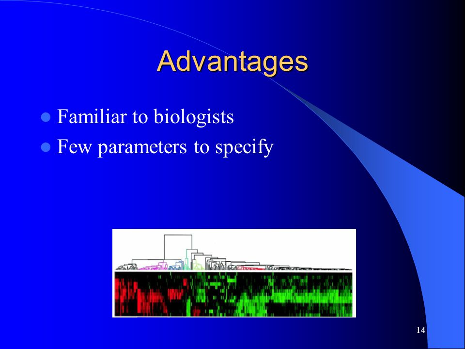 14 Advantages Familiar to biologists Few parameters to specify