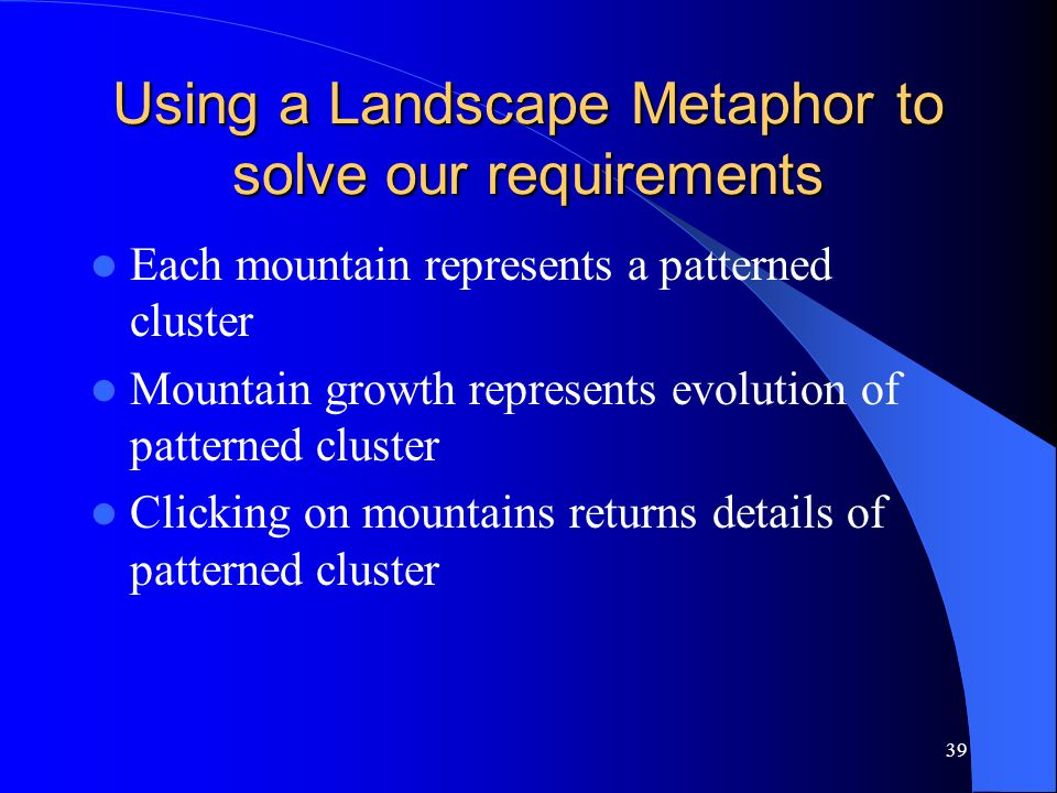 39 Using a Landscape Metaphor to solve our requirements Each mountain represents a patterned cluster Mountain growth represents evolution of patterned cluster Clicking on mountains returns details of patterned cluster