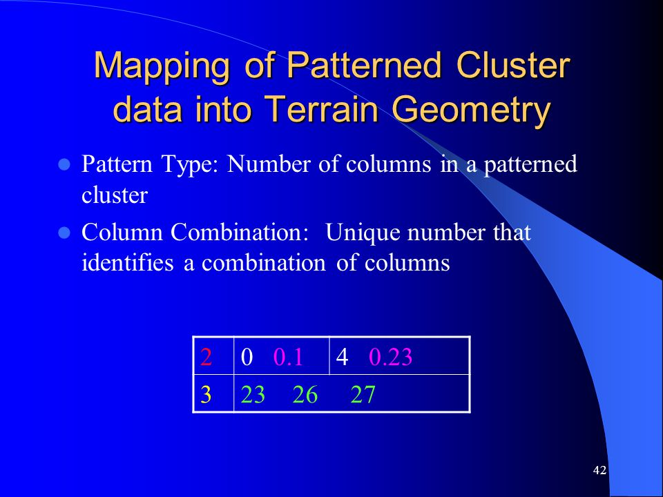 42 Mapping of Patterned Cluster data into Terrain Geometry Pattern Type: Number of columns in a patterned cluster Column Combination: Unique number that identifies a combination of columns 2 0 0.14 0.23 3 23 26 27