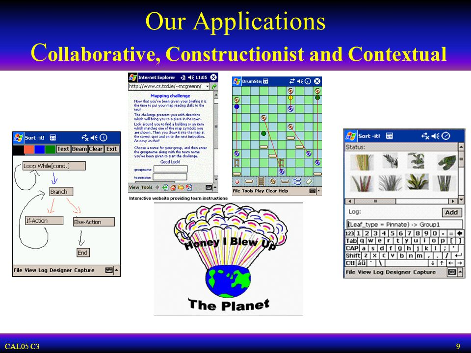 CAL05 C3 9 Our Applications C ollaborative, Constructionist and Contextual