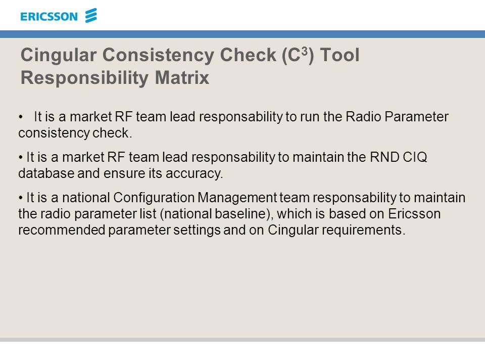 Cingular Consistency Check (C 3 ) Tool Responsibility Matrix It is a market RF team lead responsability to run the Radio Parameter consistency check.