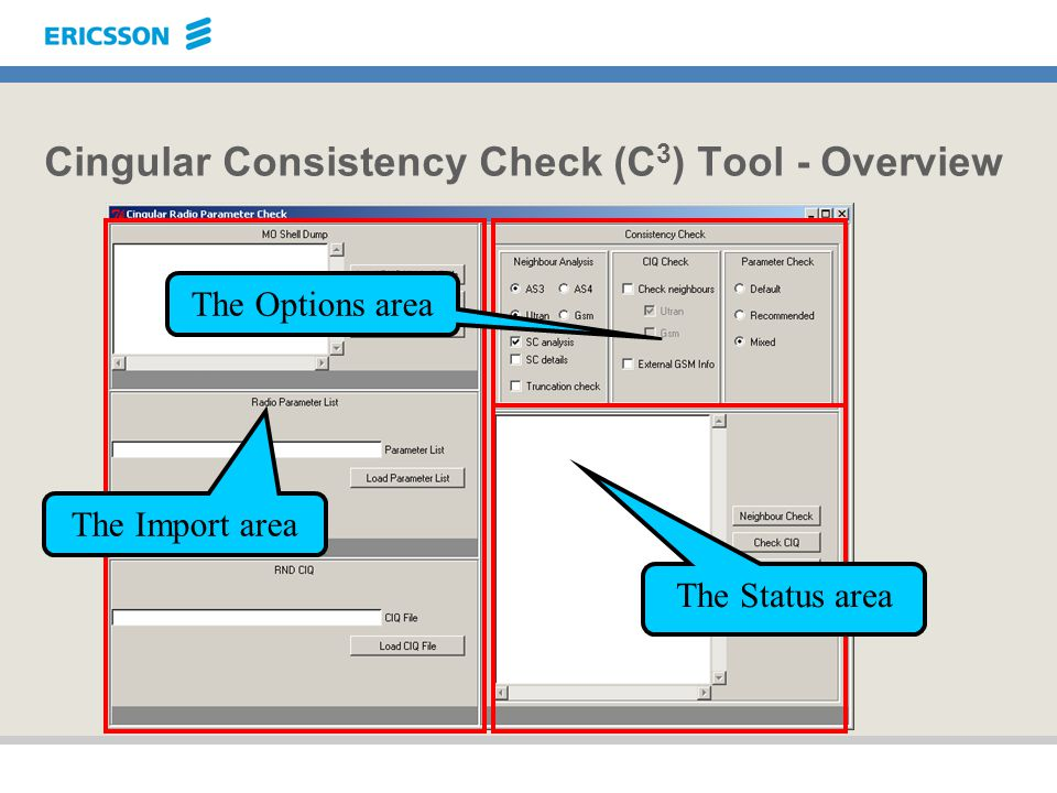Cingular Consistency Check (C 3 ) Tool - Overview The Options area The Status area The Import area