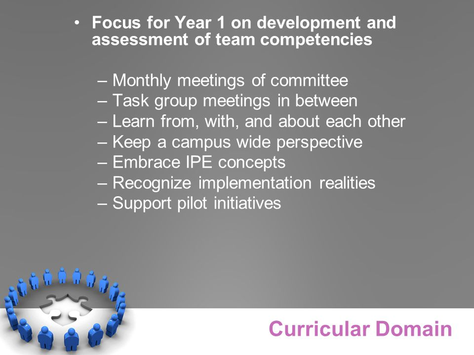 Focus for Year 1 on development and assessment of team competencies –Monthly meetings of committee –Task group meetings in between –Learn from, with, and about each other –Keep a campus wide perspective –Embrace IPE concepts –Recognize implementation realities –Support pilot initiatives