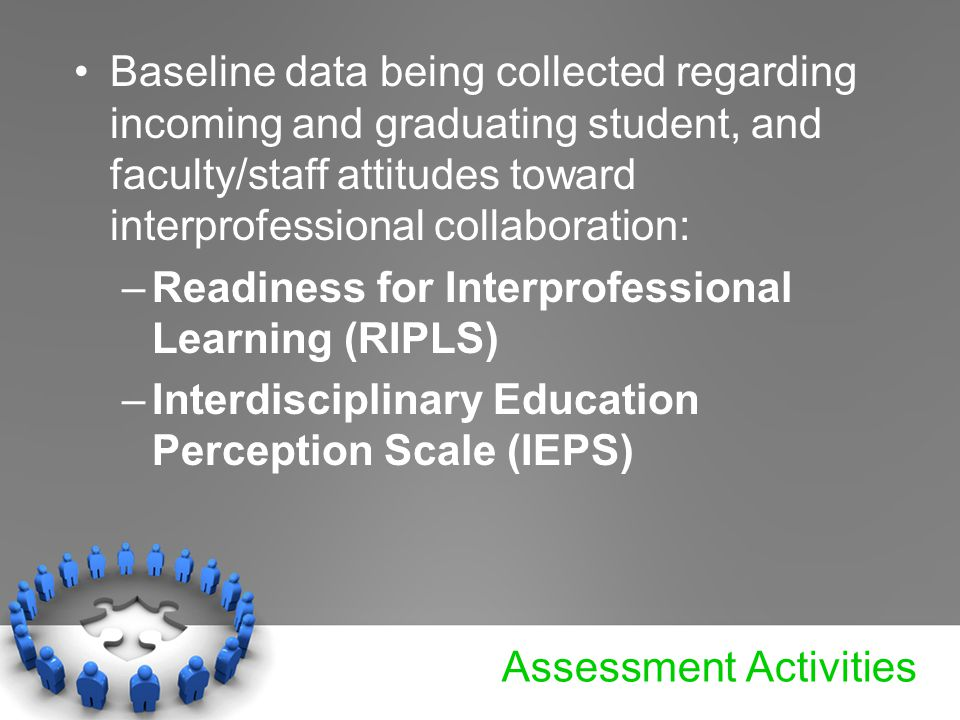 Assessment Activities Baseline data being collected regarding incoming and graduating student, and faculty/staff attitudes toward interprofessional collaboration: –Readiness for Interprofessional Learning (RIPLS) –Interdisciplinary Education Perception Scale (IEPS)