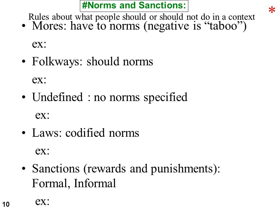 Mores: have to norms (negative is taboo ) ex: Folkways: should norms ex: Undefined : no norms specified ex: Laws: codified norms ex: Sanctions (rewards and punishments): Formal, Informal ex: #Norms and Sanctions: Rules about what people should or should not do in a context 10 *