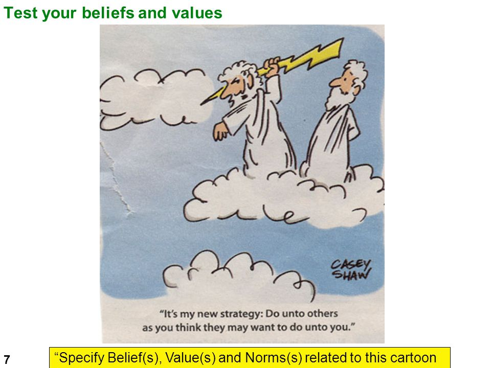 Test your beliefs and values Specify Belief(s), Value(s) and Norms(s) related to this cartoon 7