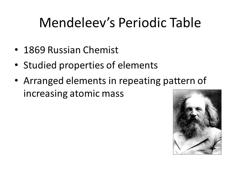 Mendeleev's Periodic Table 1869 Russian Chemist Studied properties of elements Arranged elements in repeating pattern of increasing atomic mass