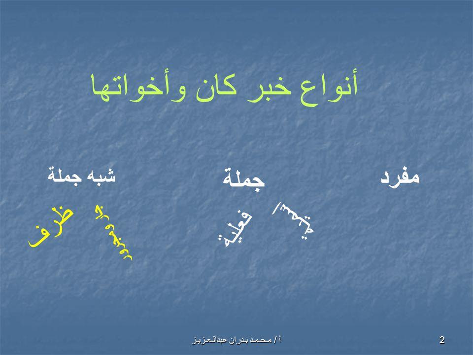 أ / مـحـمـد بـدران عبدالـعـزيـز 3 أولا الخبر المفرد هو ما ليس جملة ولا شبه جملة أي يكون كلمة واحدة الأمثلة: 1- أصبح المهندسُ نشيطاً.