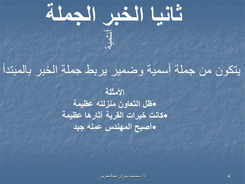 أ / مـحـمـد بـدران عبدالـعـزيـز 5 ثانيا الخبر الجملة جملة فعلية الأمثلة أمسى الفلاحُ يسألُ عن جارهِ.